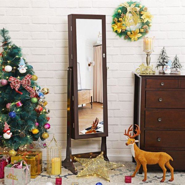 Brown Standing Jewelry Armoire - Jewelry Armoire | SONGMICS