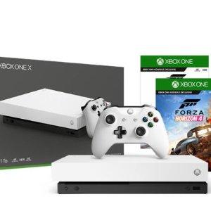 $494(原价$649)4K HDR画质Microsoft微软 Xbox One X 1TB 白色特别版+游戏机套装