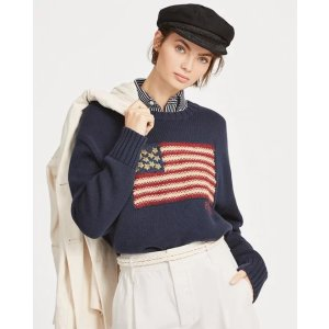 Ralph LaurenBeaded Flag Cotton Sweater