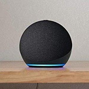 $44.99(原价$84.98) 多色可选Echo Dot 4代 智能音箱 送智能灯泡