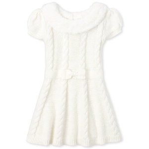 The Children's PlaceToddler And Girls Very Merry Faux Fur Collar Sweater Dress
