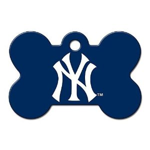 Quick-Tag New York Yankees MLB Bone Personalized Engraved Pet ID Tag, Large | Petco