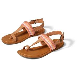 TomsTan Leather Woven Bree Toe Loop Womens Flat Sandal | TOMS