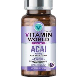 VITAMIN WORLDAcai 4000 Mg 60 Capsules | Acai Berry Phytonutrient Supplements | Vitamin World