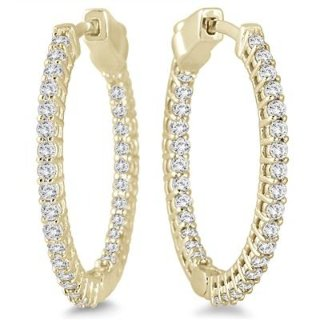 独家:1克拉钻石10K黄金耳环超值特卖