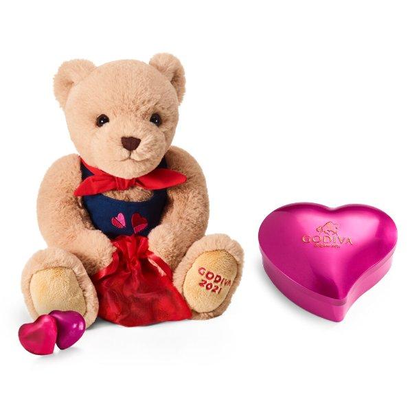 毛绒小熊+情人节心形巧克力礼盒