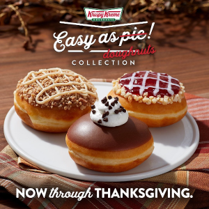 Available Now through ThanksgivingNew Release: Krispy Kreme Thanksgiving Pies Flavored Doughnuts
