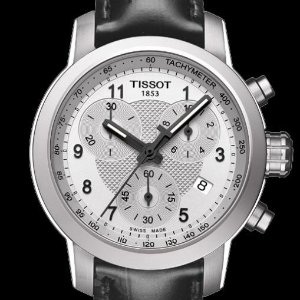 $199Extra $30 off TISSOT PRC200 Chronograph Silver Dial Black Leather Ladies Watch T0552171603202