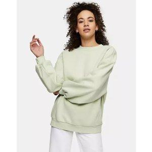 Topshop66%棉抹茶绿卫衣