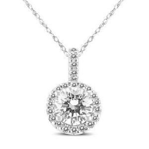 1 Carat TW Halo Diamond Pendant in 14K White Gold on Sale