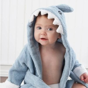 Baby Aspen定制小鲨鱼浴袍 蓝色