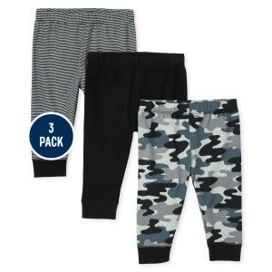 The Children's PlaceBaby Boys Camo Solid And Striped Knit Pants 3-Pack