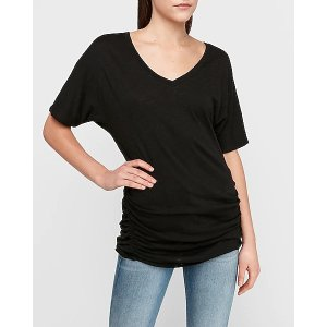 ExpressV-neck Dolman Sleeve Ruched Tee