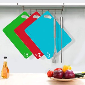 $23.45(原价$25.99)Olivivi 超厚柔性塑料切菜板6件套 食物图标区别 洗碗机可洗