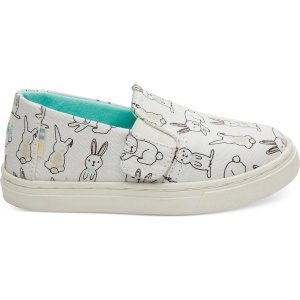 TomsWhite Bunny Print Canvas Tiny TOMS Luca Slip-Ons