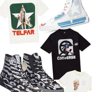 蓝白、黑灰双色定价£120 尺码全Converse x TELFAR 联名帆布鞋、服饰已上新 复古时尚前沿