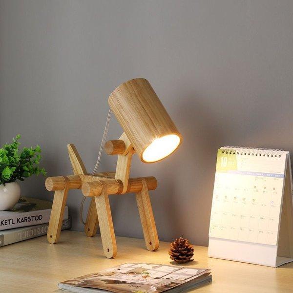 QwTech 个性简约创意实木台灯床头灯 可爱小狗台灯 可移动关节