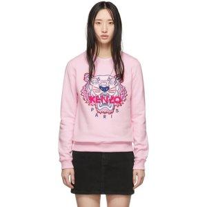 Kenzo粉色虎头卫衣