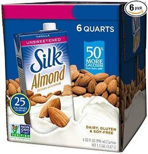 $10.48Silk Almond Milk, Unsweetened Vanilla, Pack of 6