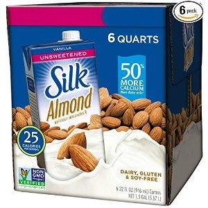 $9.96 销量冠军Silk 无糖杏仁奶 香草口味 32 fl oz 6盒