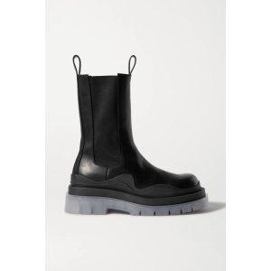 Bottega VenetaRubber-trimmed leather Chelsea boots