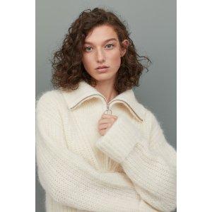 H&M毛茸茸拉链毛衣