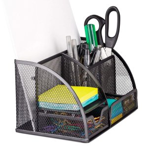 $9.99Halter Steel Mesh Desk Organizer Supply Caddy with 6 Compartments and 1 Drawer - Black (2 Pack)