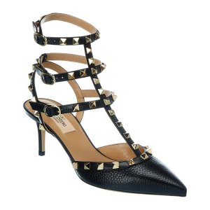 ValentinoRockstud Caged 65 Grainy Leather Ankle Strap Pump