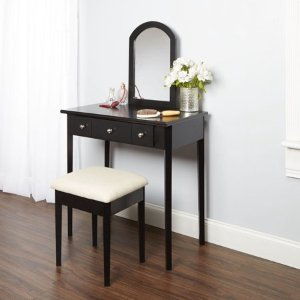 $94 Mainstays Mirror Vanity With Bench - Powered Outlet and 2-USB Ports