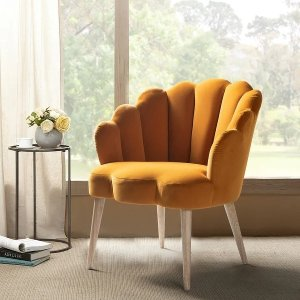 Carson CarringtonUllnasnoret Scalloped Velvet Arm Chair - Mustard