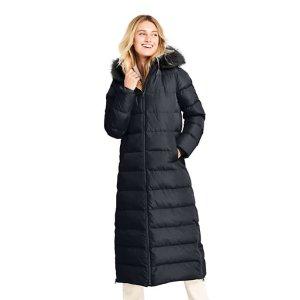 Lands' EndWinter Long Down Coat with Faux Fur Hood