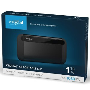 Crucial 1TB X8 Portable SSD – Up to 1050MB/s – USB 3.2 – USB-C, USB-A – CT1000X8SSD9