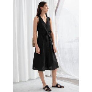 & Other StoriesBelted Linen Blend Midi Dress