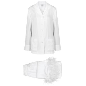 Party white feather-trimmed pyjama set