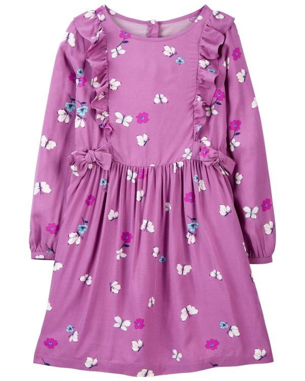 儿童蝴蝶花朵连衣裙