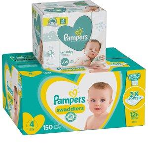 黑五价:Pampers 多款婴幼儿纸尿裤+湿巾组合促销