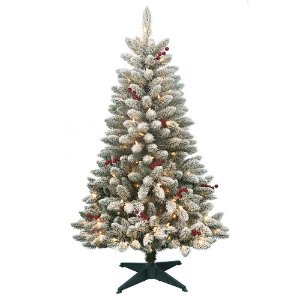 DONNER & BLITZEN 4.5' Pre-Lit Redwood Berry Flocked Pine with 200 Clear Lights @ Sears.com
