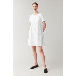 COS白色绑带A字连衣裙