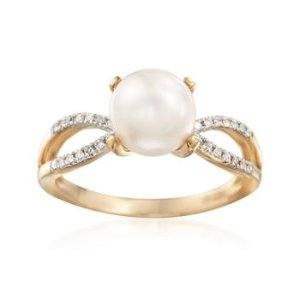 8mm Cultured Pearl and .10 ct. t.w. Diamond Ring in 14kt Yellow Gold | Ross Simons