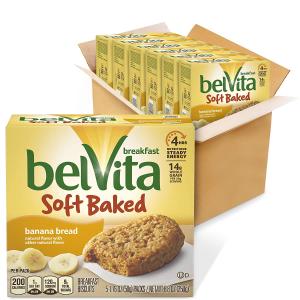 $12.58belVita Soft Baked Breakfast Biscuits, Banana Bread Flavor, 6 Boxes of 5 Packs
