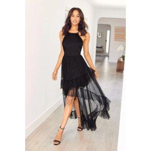 Bebe黑色长纱裙