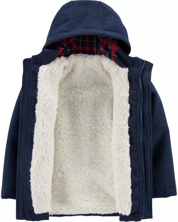 男小童羊羔绒内里牛角扣外套