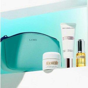 La Mer精华乳霜30ml+焕活油+保湿提亮乳+化妆包