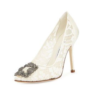Manolo Blahnik$50 off $200 purchaseHangisi Floral Lace Crystal-Toe Pumps