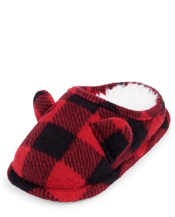 小童格纹保暖拖鞋