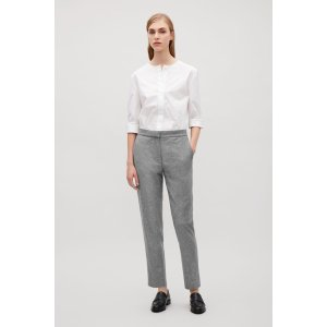 d288baf5418d COSSLIM-FIT FLANNEL TROUSERS - Light Grey - Slim-fit trousers - COS US