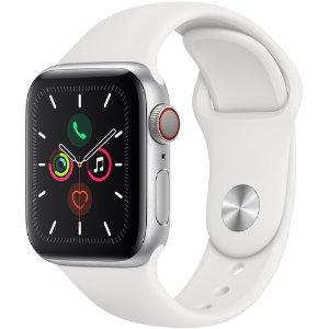 $484 送表壳+自选表带Apple Watch 5 蜂窝网络版 40mm 铝合金搭配白色表带