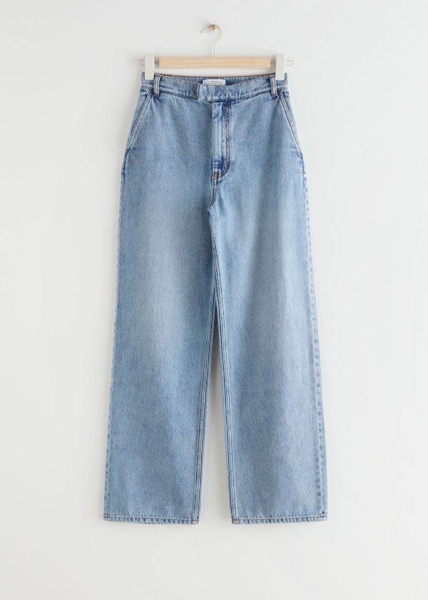 高腰宽松牛仔裤
