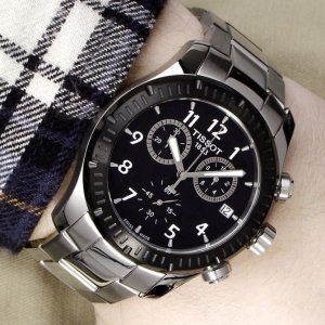 EXTRA $30 OFF TISSOT V8 Chronograph Black Dial Stainless Steel Men's Watch T039.417.21.057.00