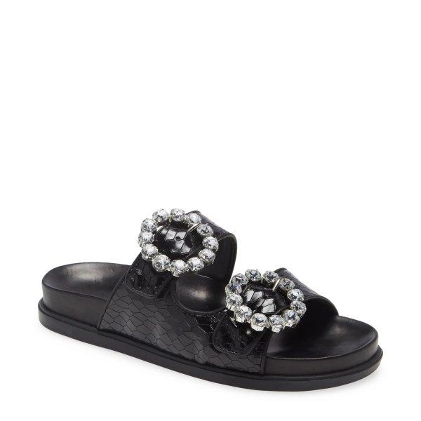 钻饰扣宽带拖鞋